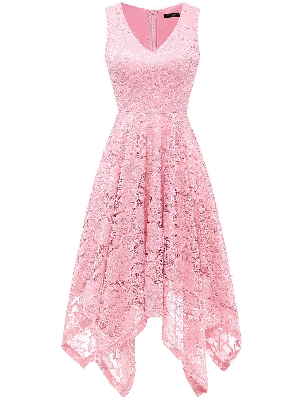 Meetjen Women's Vintage Floral Lace Dress Handkerchief Hem Asymmetrical Cocktail Formal Swing Dress Pink XL