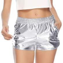 Aibrou Women's Metallic Shorts Elastic Waist Shiny Pants Yoga Hot Shorts