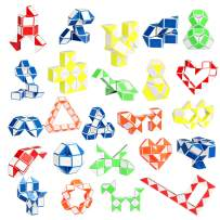 Ganowo 24 Pack Fidget Snake Cube, Mini Twist Puzzle Party Bag Fillers Bulk Toys for Kids Teens Birthday Easter Basket Stuffers Party Favors Supplies Goodie Bags Fillers, Random Colors