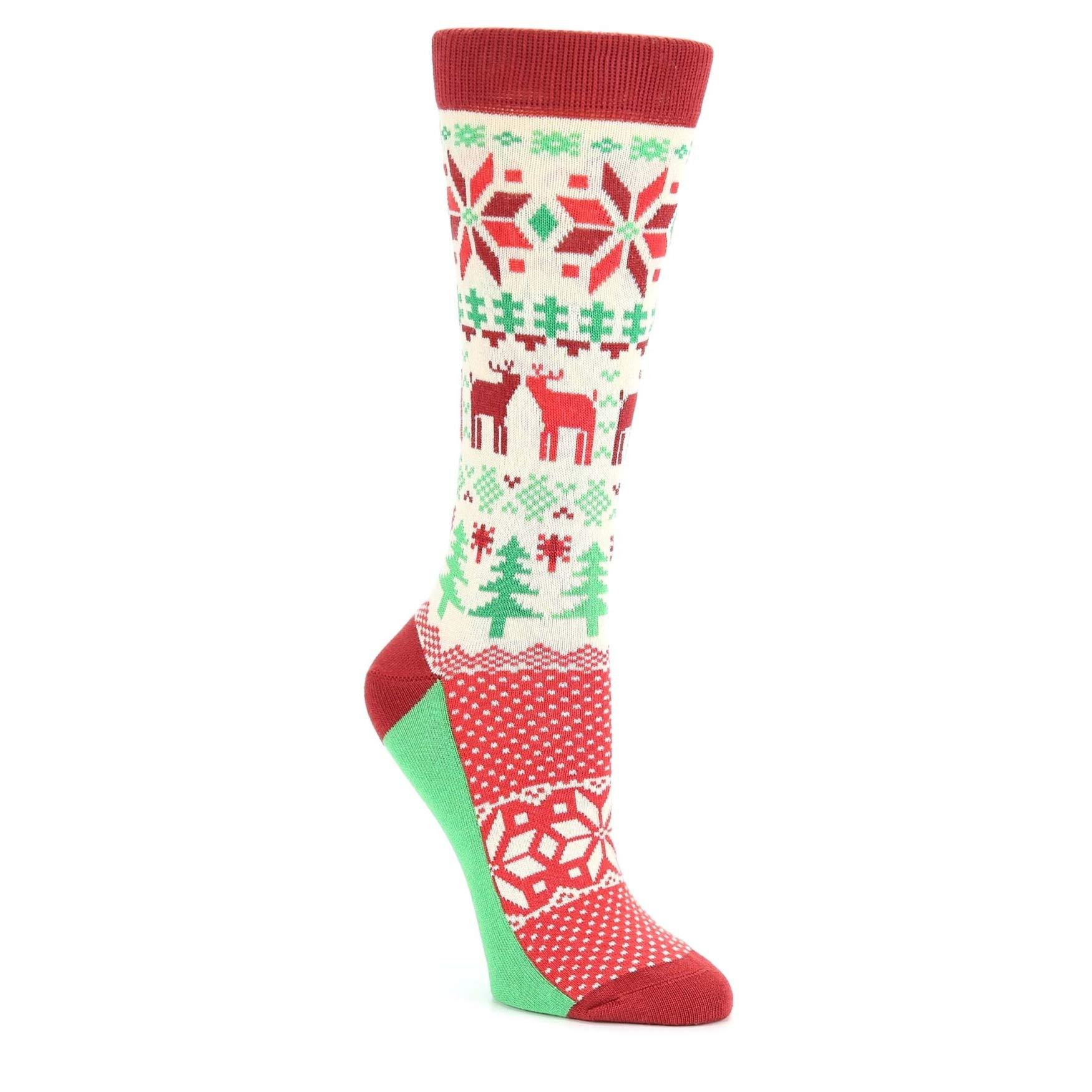 Red Green Fair Isle Christmas Women's Dress Socks - Statement Sockwear