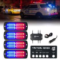 [Upgrade] Xprite 24 LED Surface Mount Strobe Lights Kit with Control Panel, Grill Grille Flashing Emergency Warning Police Side Marker Light for Trucks Vehicles ATV RV Cars Van Red Blue, 4PCS