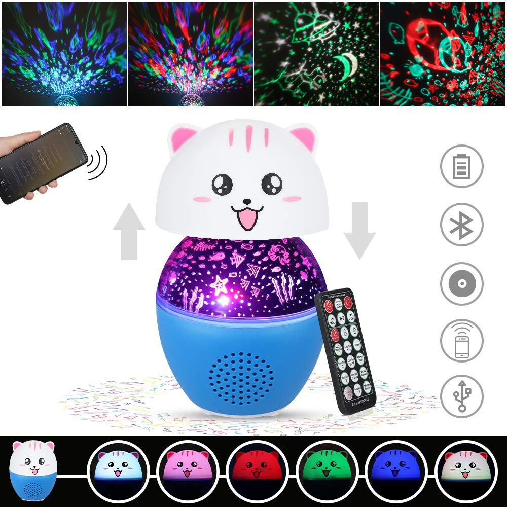 Anpro Night Light, LED Aurora Projector Night Lamps with Remote, 8 Mode Lighting Shows, Built in Speaker and Timing, Mood Relaxing Soothing Night Light for Baby Kids Adults