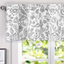 DriftAway Julia Watercolor Blooming Flower Floral Lined Thermal Insulated Window Curtain Valance Rod Pocket 52 Inch by 18 Inch Plus 2 Inch Header Gray 1 Pack