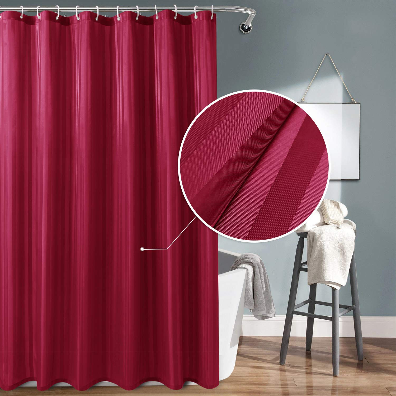 DWCN Burgundy Fabric Shower Curtain with Hooks - Stripe Patterned Water Repellent Bathroom Shower Curtain 72 x 78 Extra inches Long with Magnets