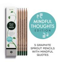 Sprout pencils - Mindful Thoughts Edition | Plantable Graphite Pencils with Seeds in eco-friendly Wood | 5 Pack | Gift set with herbs and flowers