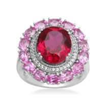 Jewelili Sterling Silver 12x10mm Oval Created Ruby Framed with 1mm Round Created White Sapphire and 4x3mm Oval Pink Sapphire Halo Ring, Size 8