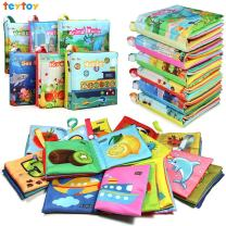 teytoy My First Soft Book, Nontoxic Fabric Baby Cloth Books Early Education Toys Activity Crinkle Cloth Book for Toddler, Infants and Kids Perfect for Baby Shower -Pack of 6