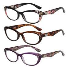 Retro Cat Eye Reading Glasses,JO 3 Pairs Vintage Rhinestone Readers Fashion Bling Eyeglasses for Women with Spring Hinges Flexible Glasses L3705 (3packs, 1.25)