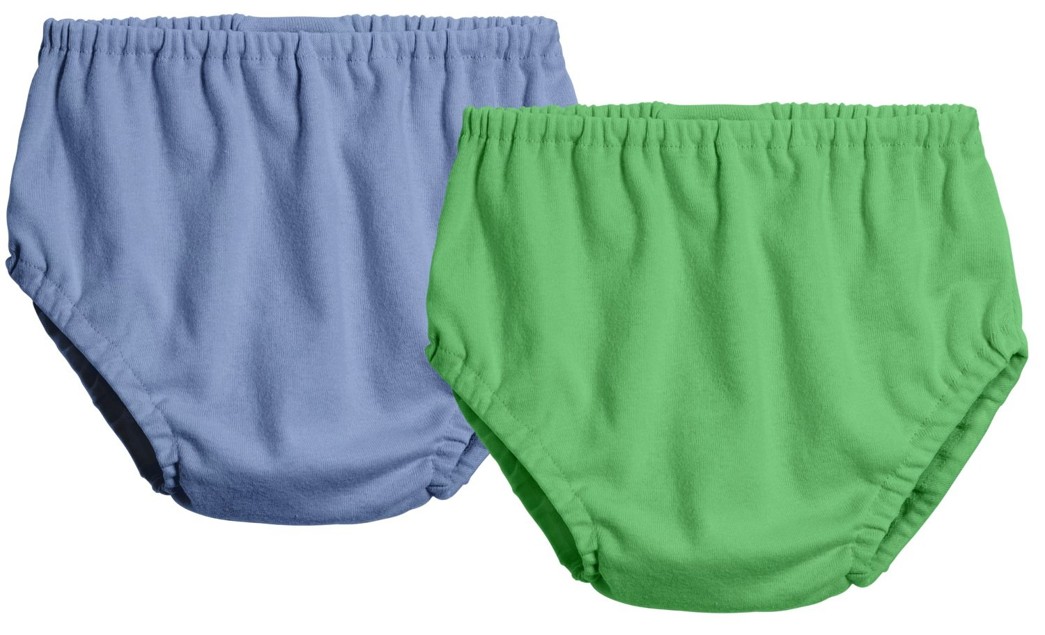 City Threads 2-Pack Baby Girls' and Baby Boys' Unisex Diaper Covers Bloomers Soft Cotton, Denim Blue/Elf, 12/18 m
