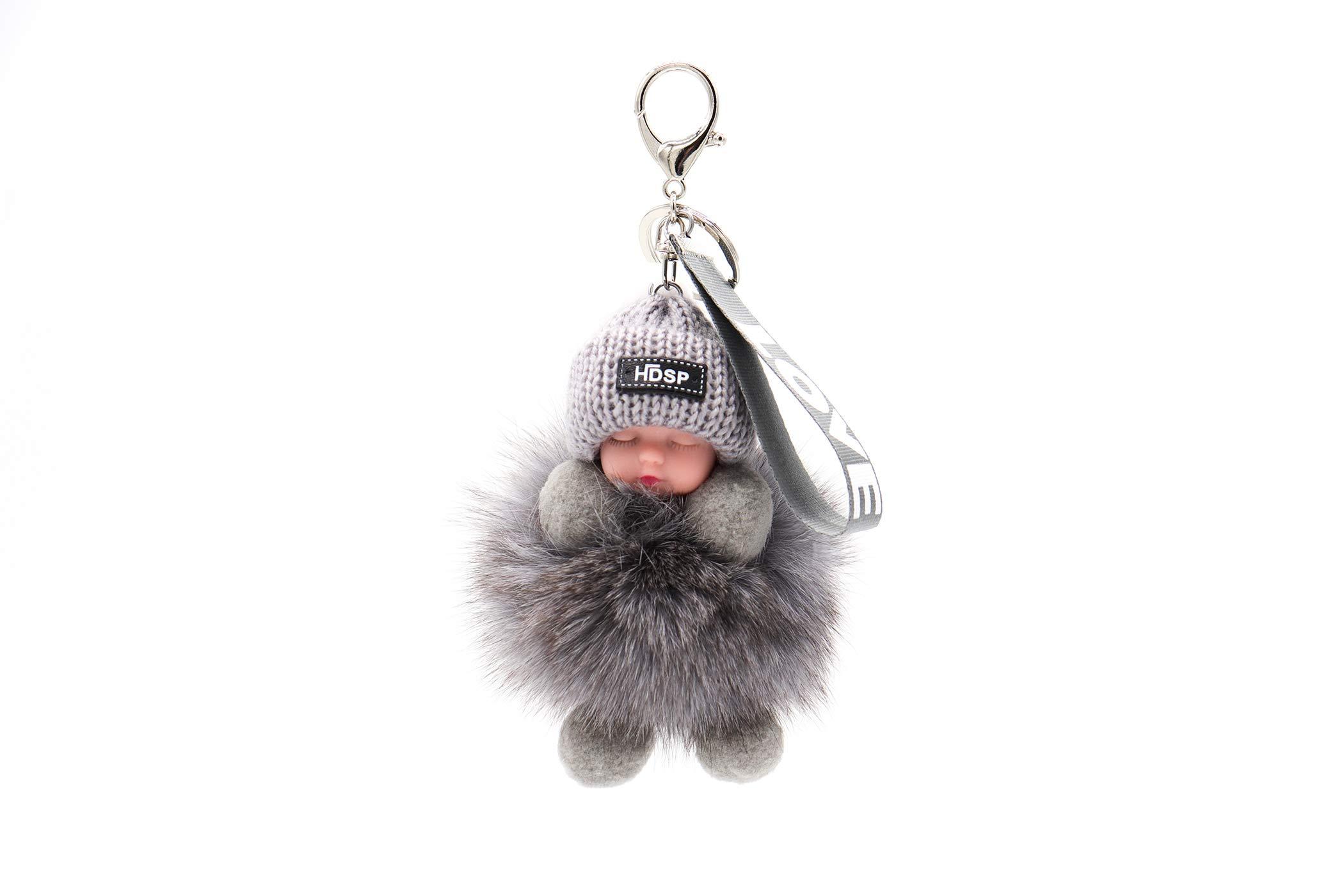 Genuine Fox Fur Baby Keychain - Pom-Pom Bag Purse Charm - Gold Ring Fluffy Fur Ball - Fashion Gift (grey)