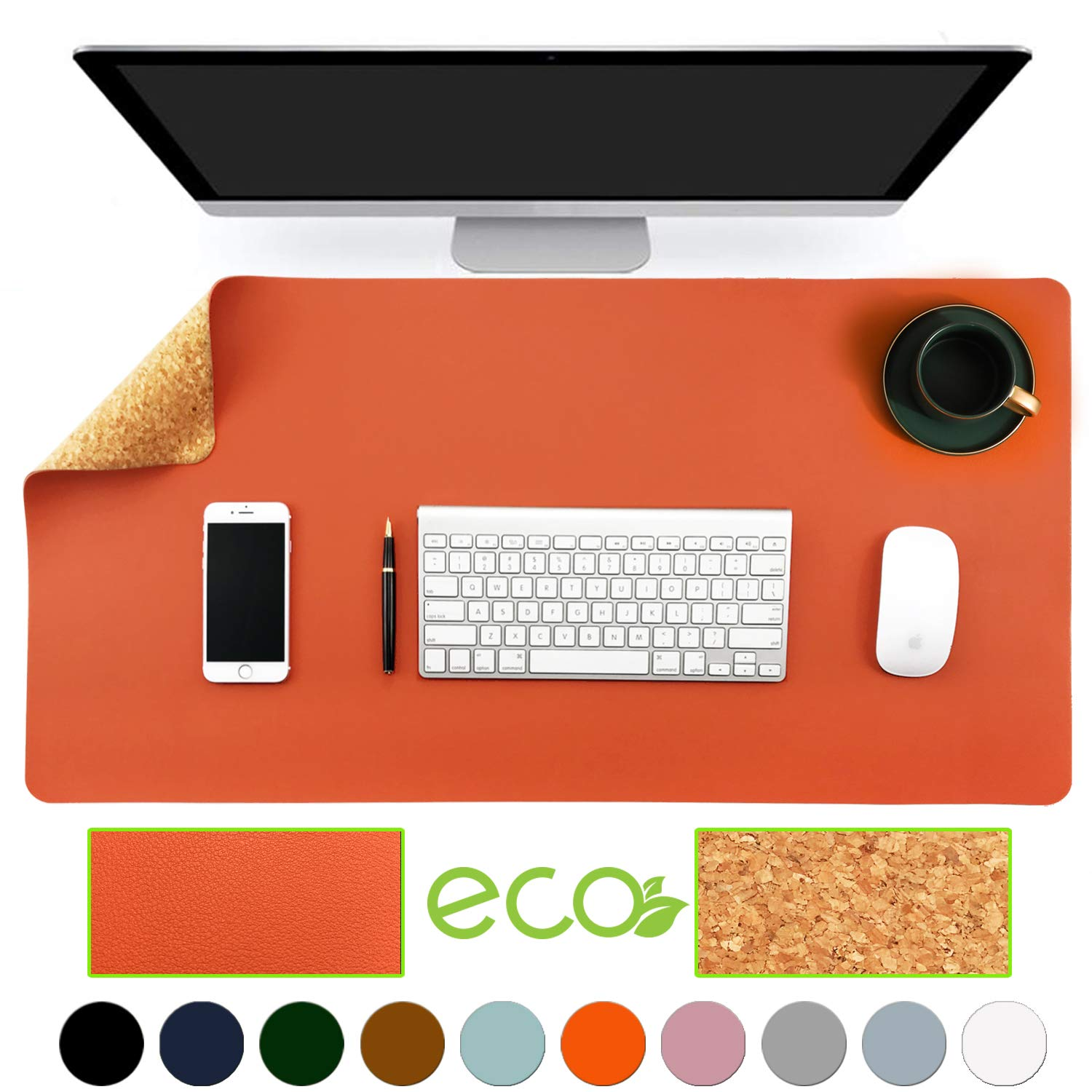 """Aothia Eco-Friendly Natural Cork & Leather Double-Sided Office Desk Mat Mouse Pad Smooth Surface Soft Easy Clean Waterproof PU Leather Desk Protector for Office/Home Gaming (Orange,31.5"""" x 15.7"""")"""