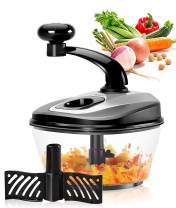 Ourokhome Hand Crank Vegetable Chopper- 1.8 L Heavy Duty Speedy Food Processor with Egg Separator and Handy Whipping Blade for Garlic, Onion, Nuts, Herbs, etc. (Black)