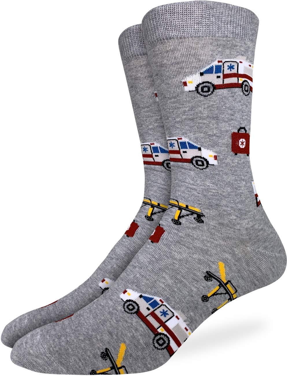 Good Luck Sock Men's Paramedic Socks - Grey, Adult Shoe Size 7-12