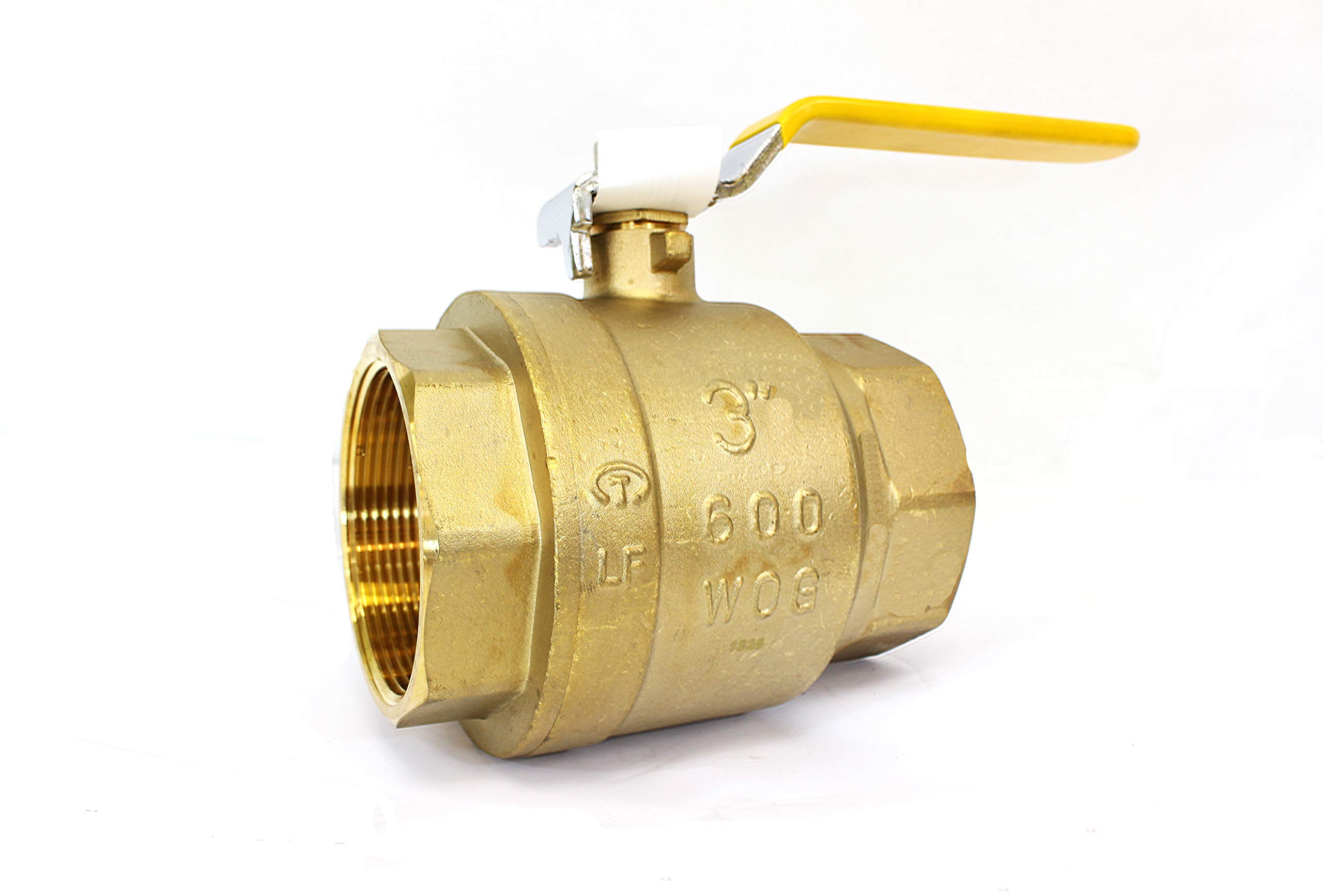 """3"""" Brass Ball Valve Threaded - IPS Full Port Irrigation Water Valves - Mechanical Lead Free Lever Handle - 3-Inch Female Thread Inline Steam Oil 600 WOG Supplies Hot Cold Pipes CSA Approved 3 Inches"""