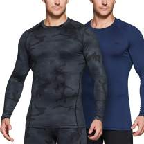 TSLA 1 or 2 Pack Men's Thermal Long Sleeve Compression Shirts, Athletic Base Layer Top, Winter Gear Running T-Shirt