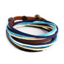 Furuida Genuine Leather Cuff Wrap Bracelet,Unisex Multilayer Leather Braided Adjustable Bracelets for Women & Men (Multicolor-2)