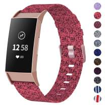 NANW Woven Bands Compatible with Fitbit Charge 4 / Charge 3 Bands/Charge 3 SE, Soft Breathable Fabric Replacement Wristbands Strap Sports Accessories for Women Men, Large Small