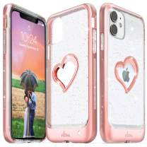 Vena iPhone 11 Glitter Case, vLove Glitter Heart Case Slim Dual Layer Protection Designed for iPhone 11 (6.1 inches) - Rose Gold (PC) and Clear TPU with Glitter