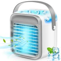 iBaste Portable Air Conditioner, Rechargeable Evaporative Air Conditioner Fan with 3 Speeds 7 Colors, Cordless Personal Air Cooler with Handle for Home, Office and Room
