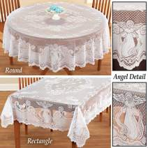 YIZUNNU Vintage White Angel Lace Doilies 60 x 90 Inch Polyester Tablecloths Table Cover Dining Home Party Wedding Decor