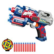 Techcity Big League Blaster Gun Captain America Foam Darts Toy Gun with 10 Refill Foam Bullet Darts and Dart Board Handgun Toy for Kids