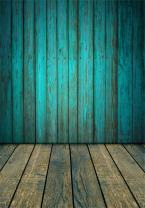 AOFOTO 6x8ft Old Blue Wood Plank Backdrop with Floor Vintage Wooden Board Panels Wall Grunge Hardwood Fence Photography Background Baby Infant Newborn Kid Boy Girl Portrait Photo Shoot Props Vinyl