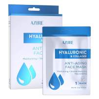 AZURE Hyaluronic & Collagen Anti Aging Sheet Face Mask - Moisturizing & Rejuvenating | Helps Reduce Fine Lines, Wrinkles & Age Spots | Tightens & Smooths Skin | Made in Korea - 5 Pack