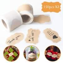 Ponwec 300PCS Kraft Labels Eco-Friendly Self Adhesive Kraft Paper Sticker for Home Mason Jars Glass Bottles Office Classification Thanksgiving Christmas Gift Decor Gift Tags,3 Styles