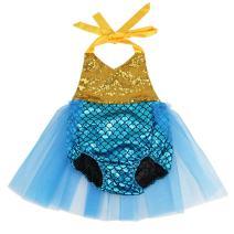 Wennikids Baby Girls Sequins Mermaid Bodysuit Romper Jumpsuit Summer Sunsuit Outfits X-Large Gold/Blue