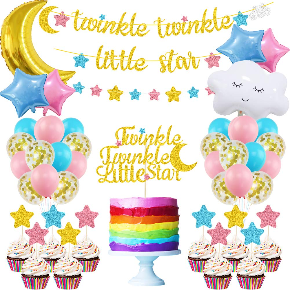 K KUMEED Twinkle Twinkle Little Star Party Decorations, Moon and Star Balloons, Pink Blue Gold Star Moon Cake Topper for Gender Reveal Boy or Girl Baby Shower Birthday Party Supplies