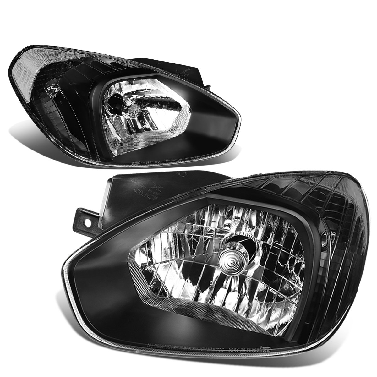 DNA Motoring HL-OH-048-BK-CL1 Pair of Headlight [for 07-11 Accent]