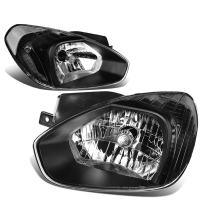 DNA Motoring HL-OH-048-BK-CL1 Black Housing Headlights Replacement For 07-11 Accent