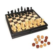 WE Games Russian Style Chess & Checkers Game Set Weighted Chessmen & Wood Board - 15 in.