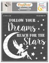 CrafTreat Home Decor Stencils for painting on Wood, Canvas, Paper, Fabric, Wall and Tile - Reach for the Stars - 6x6 Inches - Reusable DIY Art and Craft Stencils - Moon and Stars Stencils for painting