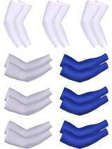 Bememo 9 Pairs Unisex UV Protection Sleeves Long Arm Sleeves Cooling Sleeves Ice Silk Arm Cover Sleeves (White, Grey, Blue)