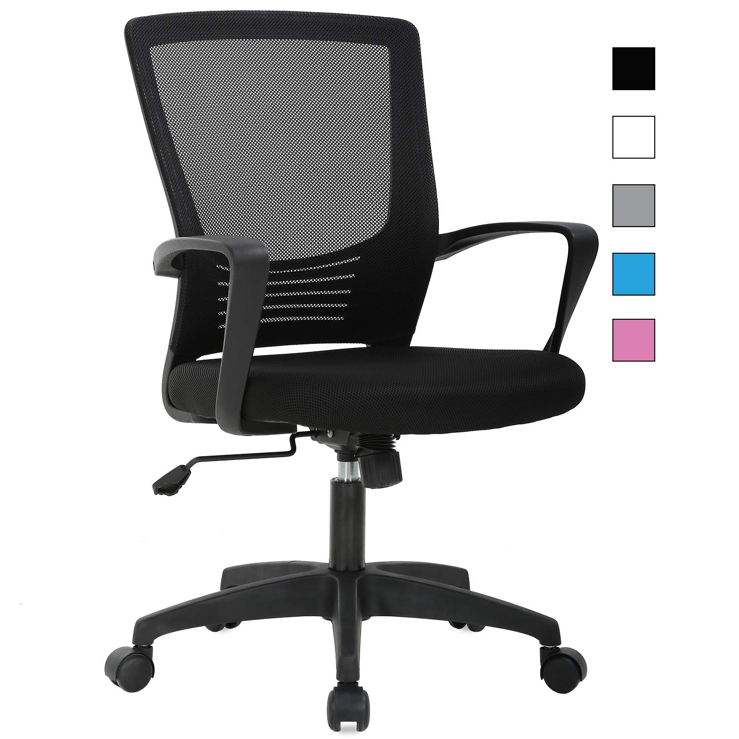 Ergonomic Office Chair, Mid Back Desk Chair Mesh Computer Chair Executive Rolling Swivel Adjustable Task Chair with Lumbar Support Armrest for Adults Women,Black
