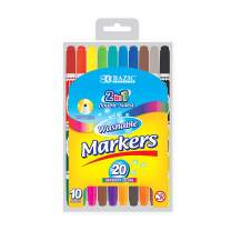 BAZIC 10 Dual Tip Washable Markers Pens, 20 Colors Fine Point Marcador Gift for Kids School Art Coloring Drawing Dooling