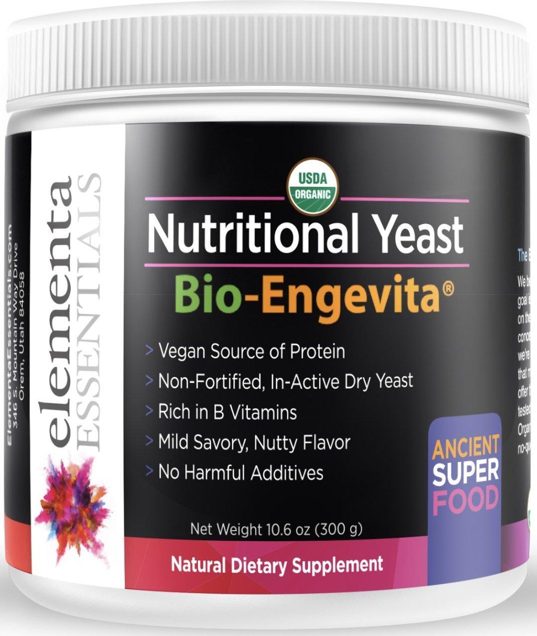 Elementa Essentials Organic Non-Fortified Nutritional Yeast Powder 300 Grams, Gluten Free
