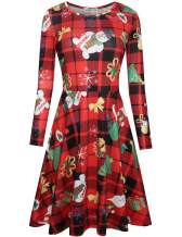 Melynnco Women's Long Sleeve Christmas Costumes Casual Printed Flare Party Dress