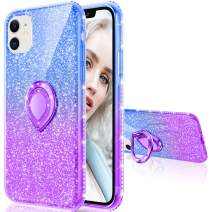 Maxdara Case for iPhone 11 Case Glitter Ring Kickstand Case for Girls Women with Bling Sparkle Diamond Rhinestone Stand Holder Protective Case for iPhone 11 6.1 inches (Blue Purple)