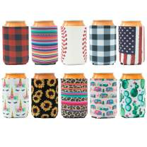 HaiMay 10 Pieces Beer Can Sleeves Beer Can Coolers Neoprene Drink Cooler Sleeves for Cans and Bottles, Fashion Styles