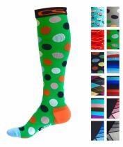 Compression Socks for Men & Women - Best Graduated Athletic Fit for Running, Nurses, Shin Splints, Flight Travel, & Maternity Pregnancy - Boost Stamina, Circulation & Recovery (Lush Dots, L/XL)