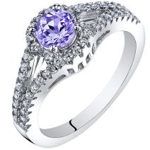 Tanzanite Gallery Ring Sterling Silver 0.50 Carat Sizes 5 to 9