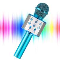 YOHIA Portable Handheld Karaoke Microphone for Kids, Hot Toy Gifts for Girls Teens, Wireless Bluetooth Mic for Android/iPhone/iPad (Blue)