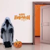"Vinyl Wall Art Decal - Happy Halloween - 15"" x 28"" - Modern Spooky Halloween Quote for Home Bedroom Kids Room Store Coffee Shop Seasonal Decoration Sticker (Orange)"