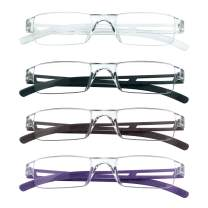 4 Pairs Reading Glasses, Blue Light Blocking Glasses, Computer Reading Glasses for Women and Men, Fashion Rectangle Eyewear Frame(4 Colors,+3.00 Magnification)