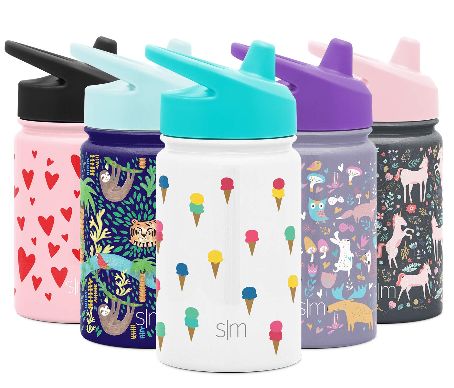Simple Modern Kids Summit Sippy Cup Thermos 10oz - Stainless Steel Toddler Water Bottle Vacuum Insulated Girls and Boys Hydro Travel Cup Flask -Ice Cream Cones Purple