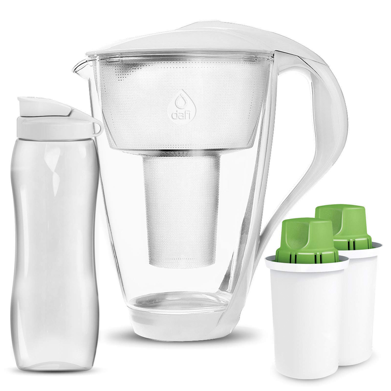 Dafi Alkaline UP Crystal Glass Water Pitcher 8 cups - Highest Quality Water Pitcher made from Borosilicate Glass - Set with 2 Alkaline UP Water Filters and FREE 24 fl oz Sport Water Bottle (White)