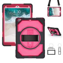 Miesherk iPad 6th/5th Generation Case, Heavy Duty Shockproof Hybrid Armor Protective Case with 360 Rotating Stand & Hand Strap & Shoulder Strap for iPad 9.7 Inch 2018/2017, Pink