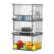 Stacking Metal Storage Bins XL 31.9''X16.6'' Large Toy Organizer Metal Baskets Fruit and Pantry Organization- 3 Pack